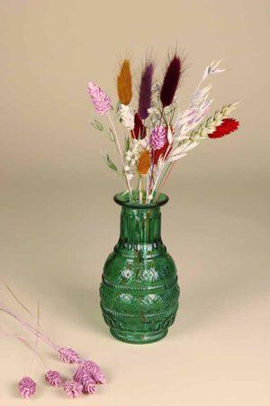klein vaasje droogbloemen mini regenboog groen