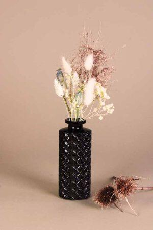 klein vaasje droogbloemen mini koper en wit